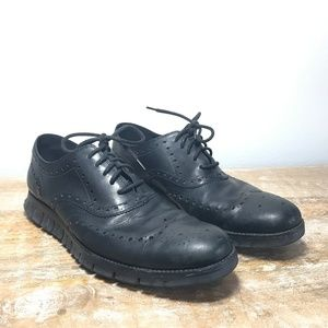 Cole Haan ZeroGrand Black Leather Wing-Tip Casual